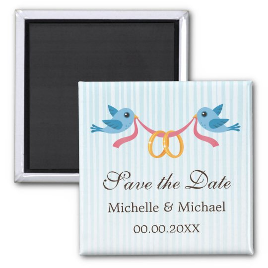 Blue birds with golden rings Save the Date magnet