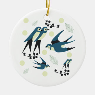 Blue Birdy! Round Ceramic Decoration