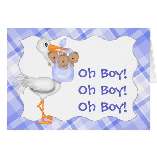 Blue Birth Announcement for Triplets Card