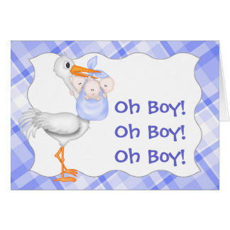 Blue Birth Announcement for Triplets Cards