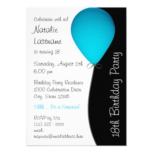 Blue Birthday Balloon Personalized Invite
