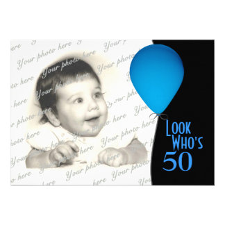 Blue Birthday Balloon with Photo Custom Invites