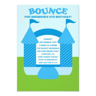Blue Birthday Bounce Bouncy House Birthday Party Card