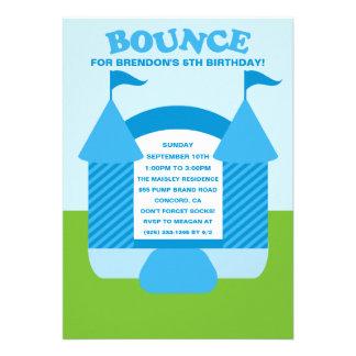 Blue Birthday Bounce Bouncy House Birthday Party Custom Announcement