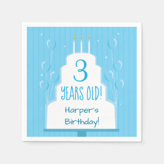 Blue Birthday Cake and Balloons | Paper Napkin