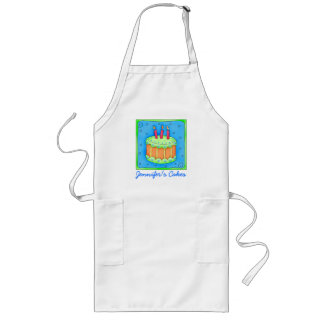 Blue Birthday Cake Apron Business Personalized