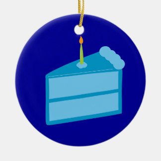 Blue Birthday Cake Christmas Ornament