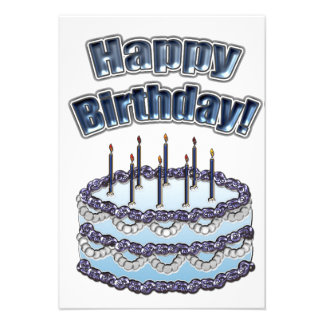Blue Birthday Cake Party Personalized Invite