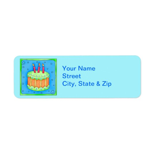 Blue Birthday Cake Turquoise Return Address Label
