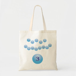 Blue Birthday for Boy Age 3 Budget Tote Bag