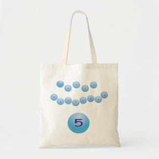 Blue Birthday for Boy Age 5 Budget Tote Bag