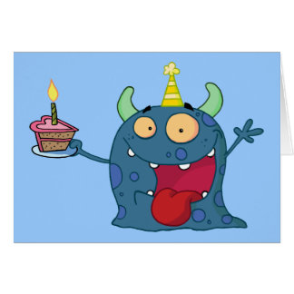 Blue Birthday Monster (customizable) Card