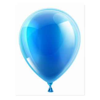 Blue birthday or party balloon post cards