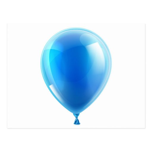 Blue birthday or party balloon postcards
