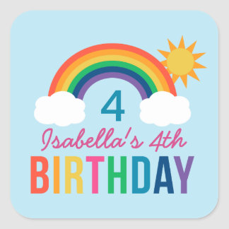 Blue Birthday Party Favor | Rainbow Colors Square Sticker