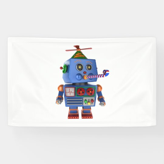 Blue birthday party toy robot banner