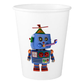 Blue birthday party toy robot paper cup