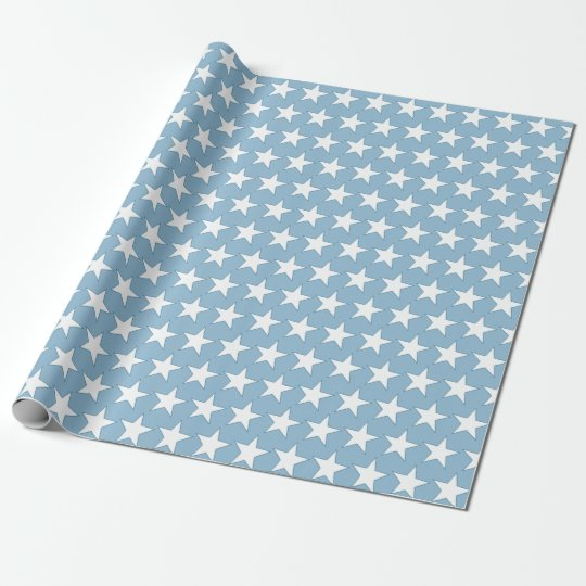 Blue Birthday with white stars Wrapping Paper