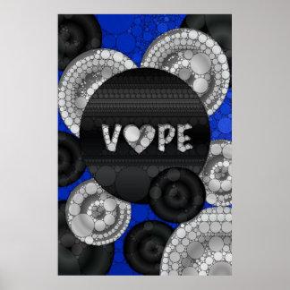 Blue Black 3D Vape Heart Poster