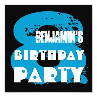 BLUE BLACK 8th Birthday Party 8 Year Old V11A1 13 Cm X 13 Cm Square Invitation Card