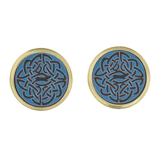 Blue Black and Gold Celtic Knot Cufflinks Gold