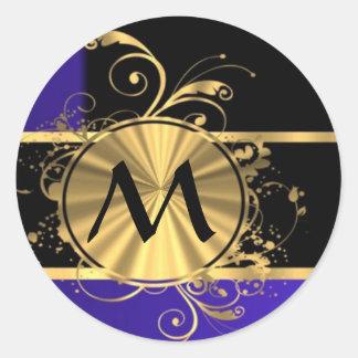 Blue black and gold monogram round sticker
