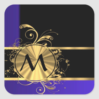 Blue black and gold monogram square sticker