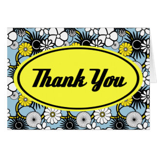 Blue Black and Gold Thank You Card