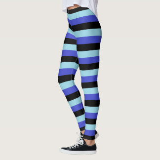 Blue, Black and Pastel Blue Stripes Leggings