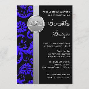Blue, Black, and Silver LOOK Graduation Invitation