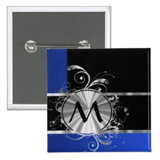 Blue black and silver monogram 15 cm square badge