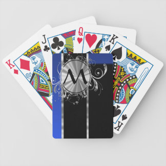Blue black and silver monogram bicycle playing cards