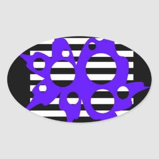 Blue, black and white abstraction oval sticker