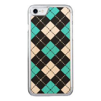 Blue Black and White Argyle Pattern Carved iPhone 8/7 Case