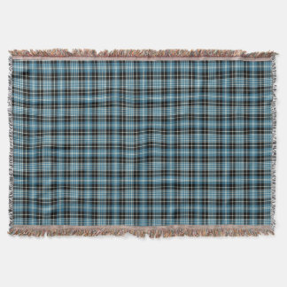 Blue, Black and White Clark Clan Scottish Plaid Throw Blanket