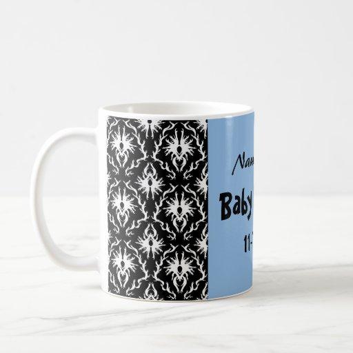 Blue, Black and White Damask Baby Shower Mugs