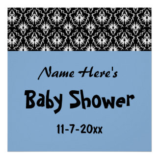 Blue Black and White Damask Baby Shower Posters