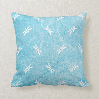 Blue Black  and White Dragonfly Pillow