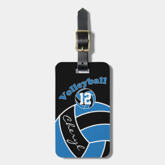 Blue,  Black and White Sporty Volleyball Luggage Tag