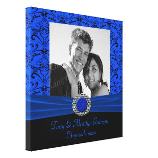 Blue & Black Baroque Jewel Add A Photo Frame Up Stretched Canvas Print