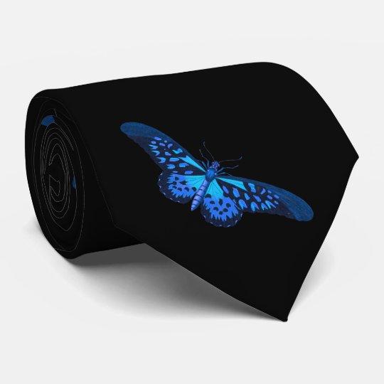 Blue Black butterfly Tie