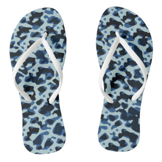 Blue Black Camo Abstract Pattern Flip Flops