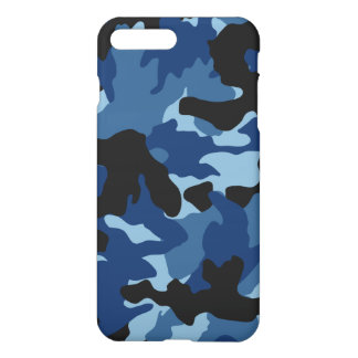 Blue Black Camo Cool Camouflage Pattern Glossy iPhone 7 Plus Case