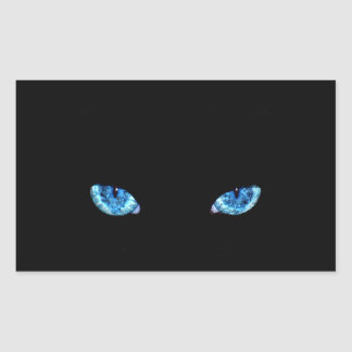 Blue Black Cat Eyes Rectangular Sticker