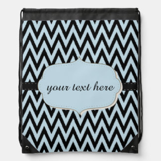 Blue Black Chevron Drawstring Bag