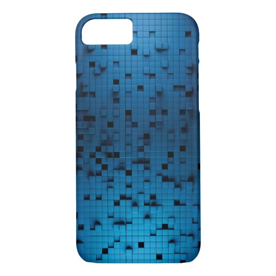 BLUE BLACK CUBE 3D ABSTRACT iPhone 7 CASE