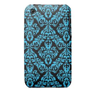 Blue Black Damask Design Blackberry Curve case