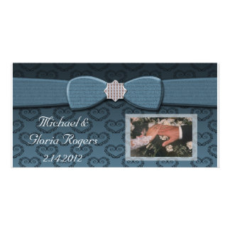 Blue & Black Damask Hearts Bow Bling Customised Photo Card