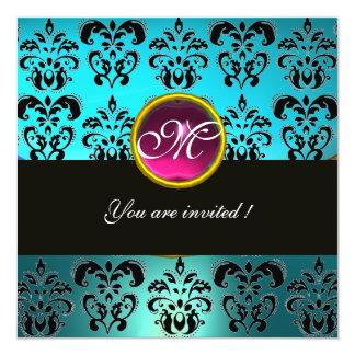 BLUE BLACK DAMASK MONOGRAM,pink amethyst turquase 13 Cm X 13 Cm Square Invitation Card