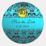 BLUE BLACK DAMASK MONOGRAM ,turquase yellow Round Sticker